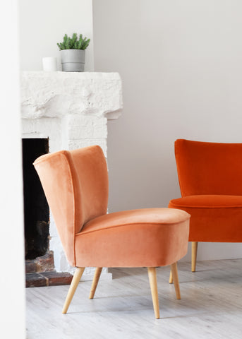 Peach Velvet Cocktail Chair - Florrie + Bill