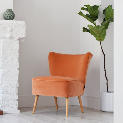 Peach Velvet Vintage Cocktail Chair from Florrie + Bill