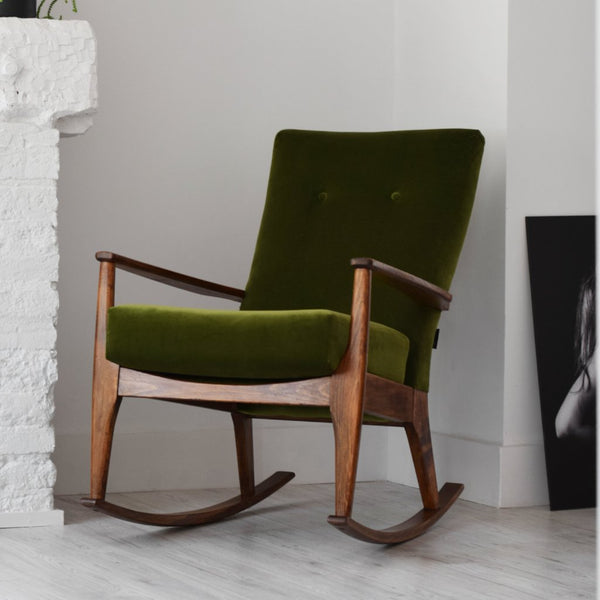Green Velvet Retro Parker Knoll Rocking Chair