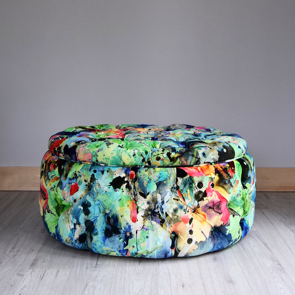 Bespoke deep buttoned footstool in Timorous Beasties Kaleido Splatt velvet by Florrie+Bill