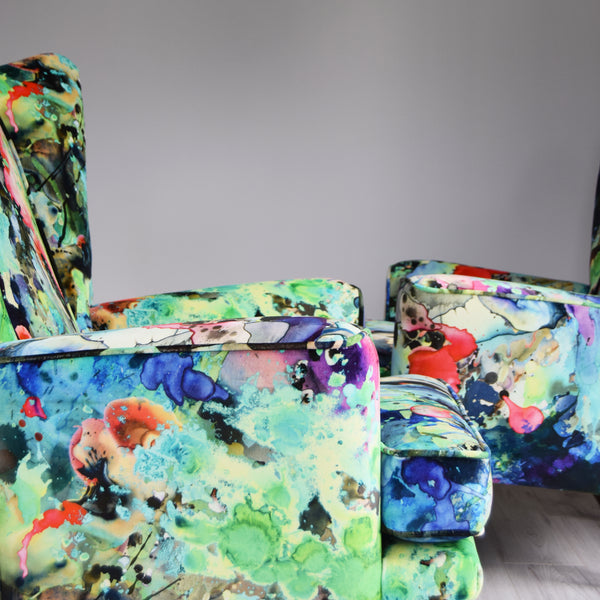 Vintage G Plan E Gomme Armchairs in Timorous Beasties Kaleido Splatt velvet by Florrie+Bill