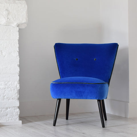 Vintage Cocktail Chair in Designers Guild Cassia Blue velvet from Florrie + Bill