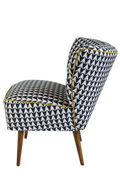 Vintage Cocktail Chair in Aldgate East Ink Fabric - Florrie + Bill