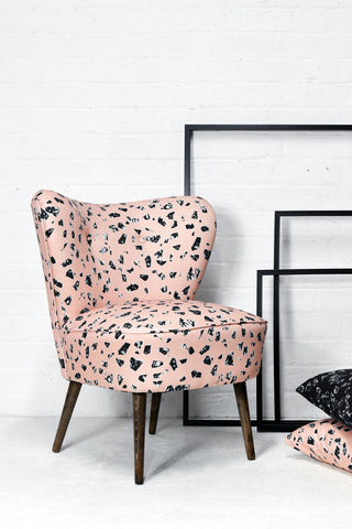 Vintage Cocktail Chair in CHIPS Peach Terrazzo Fabric - Florrie + Bill
