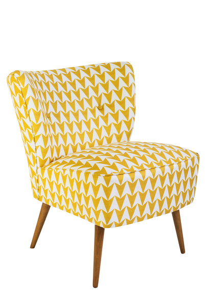 Vintage Cocktail Chair in Aldgate East Mustard Fabric - Florrie + Bill