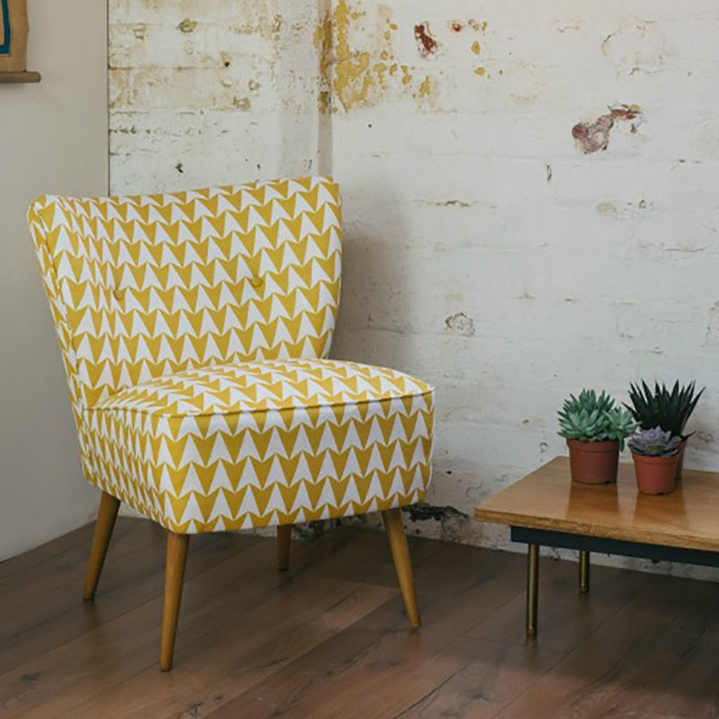Vintage Cocktail Chair In Flock Fabric Geometric Aldgate