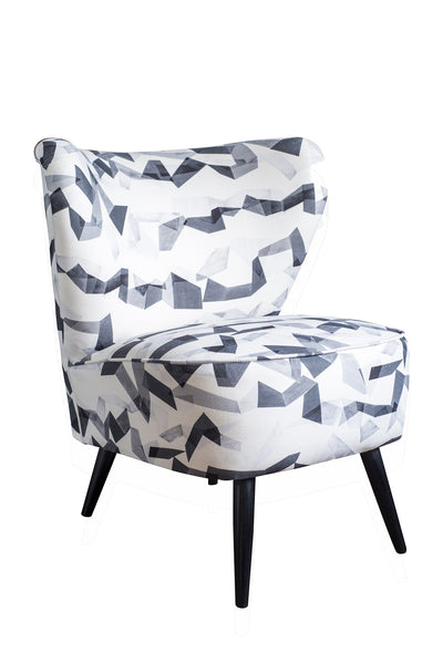 Vintage Cocktail Chair in Monochrome Geometric Pattern Fabric