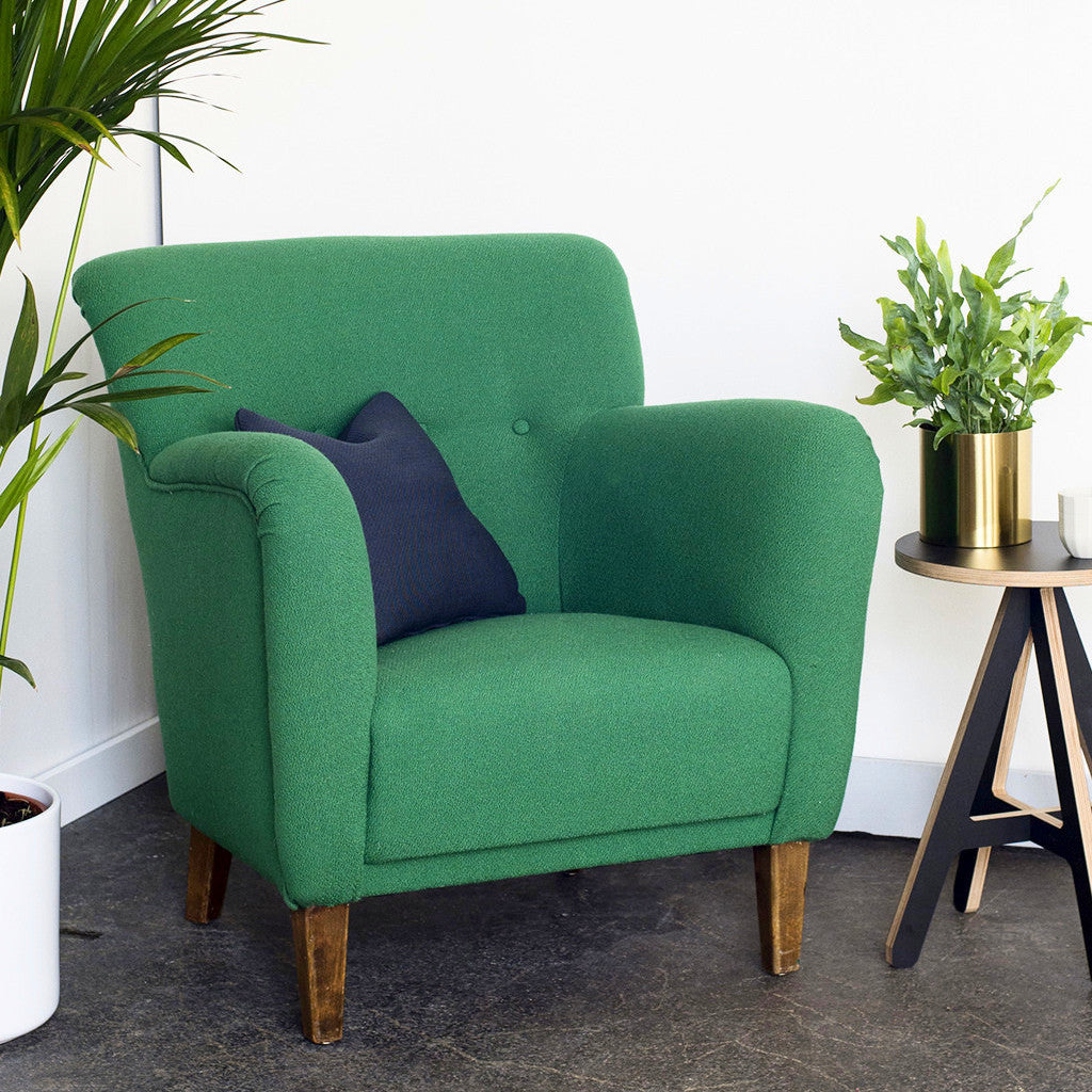 Vintage Green Wool Armchair ...