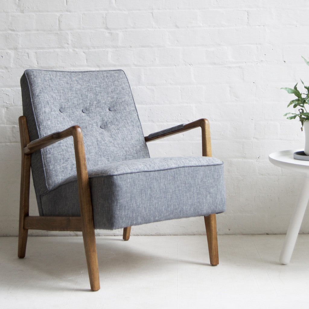 Charmant Retro Vintage Grey Scandi Armchair Florrie And Bill ...