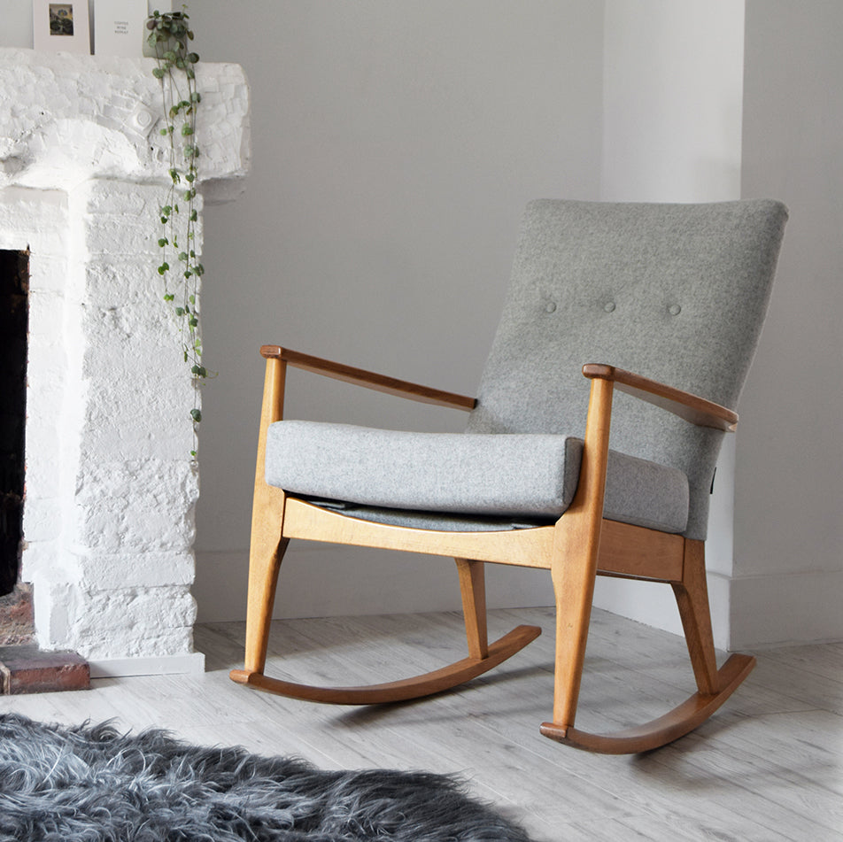 Grey Wool Parker Knoll Rocking Chair