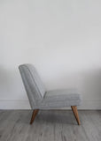 Vintage retro lounge chair in light grey wool from Florrie+Bill