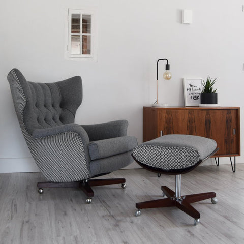 Vintage G Plan 6250 Chair and ottoman in grey wool from Florrie+Bill