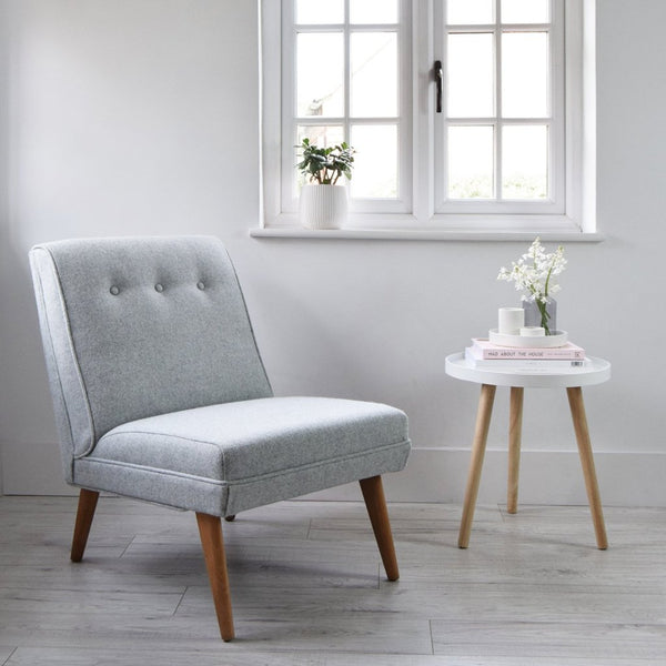 Grey Wool Vintage Lounge Chair - Florrie + Bill