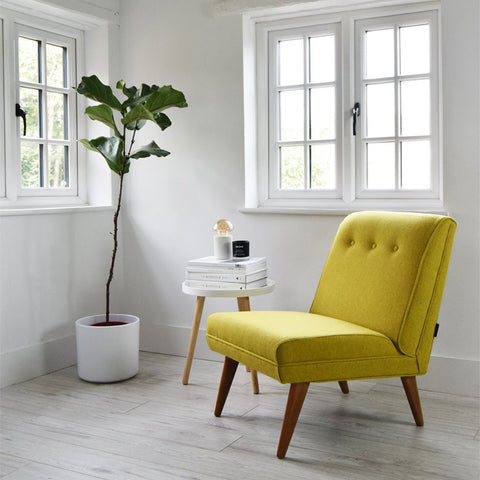 Yellow Wool Vintage Lounge Chair
