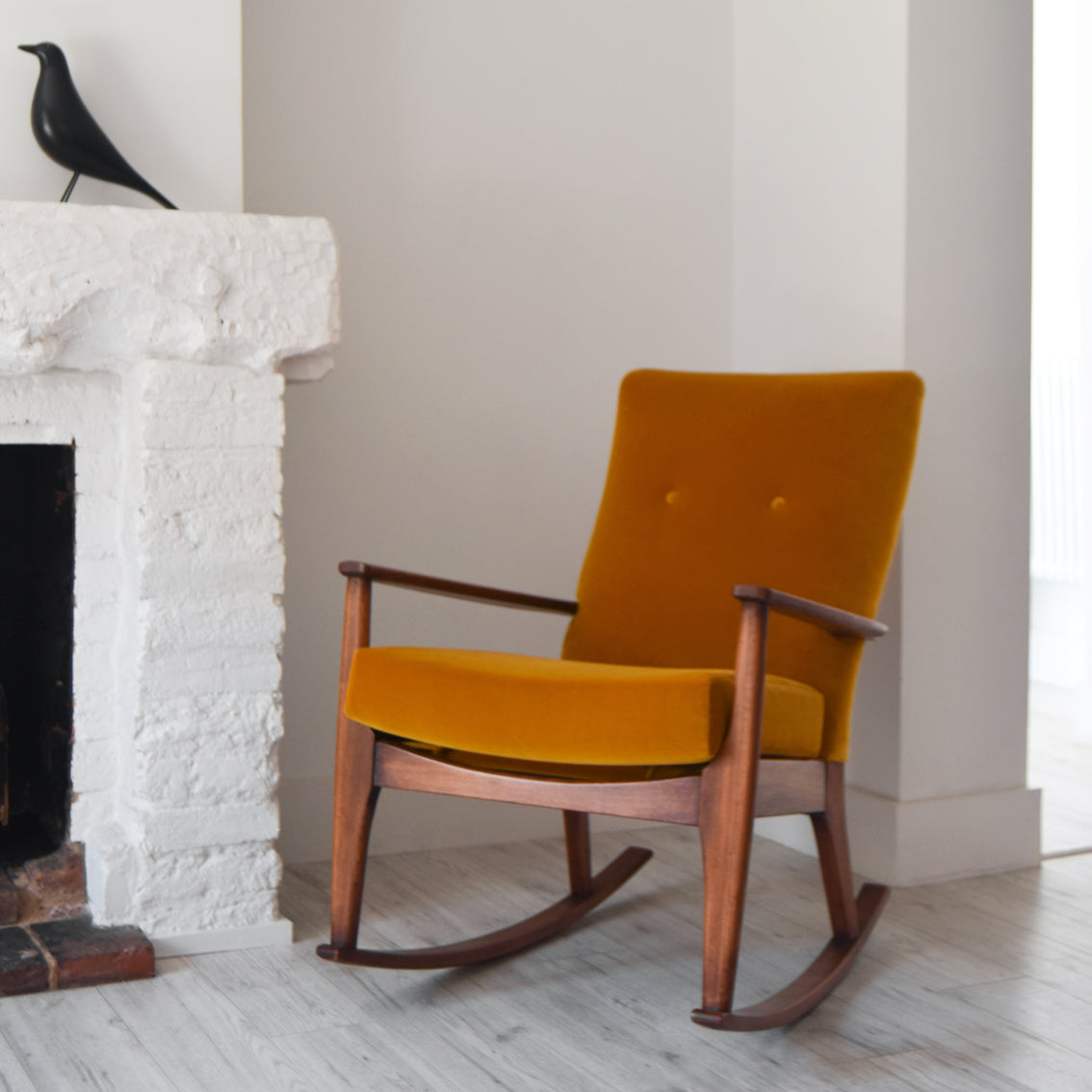 Parker Knoll Rocking Chair in Designers Guild Varese Ochre Velvet