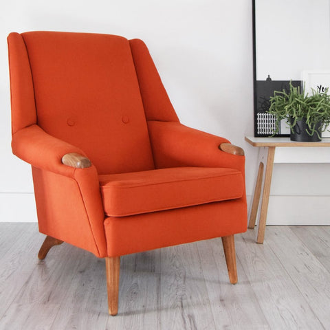 Orange retro vintage restored chair with teak paws Florrie and Bill