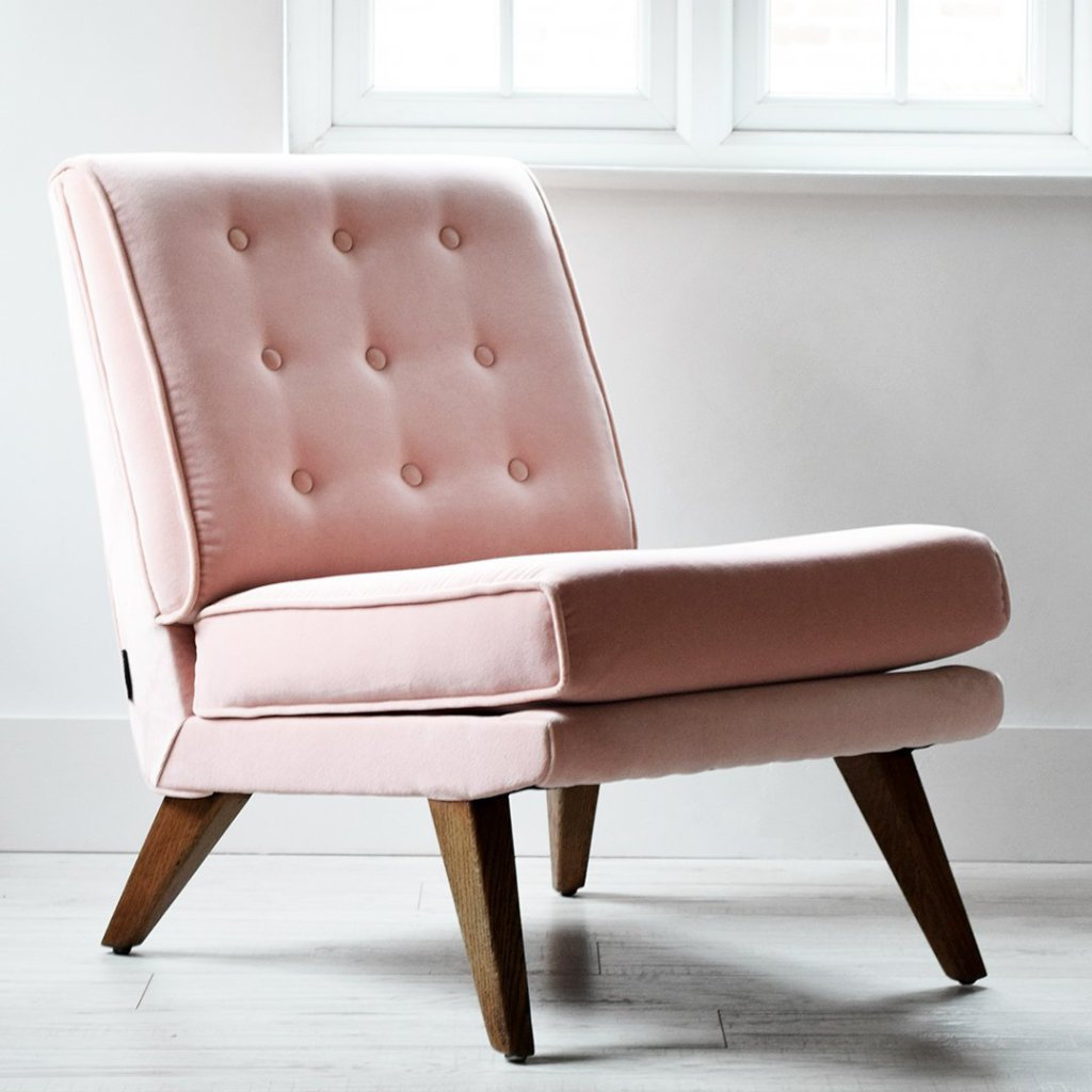 Pink Velvet E-Gomme Chair - Florrie + Bill