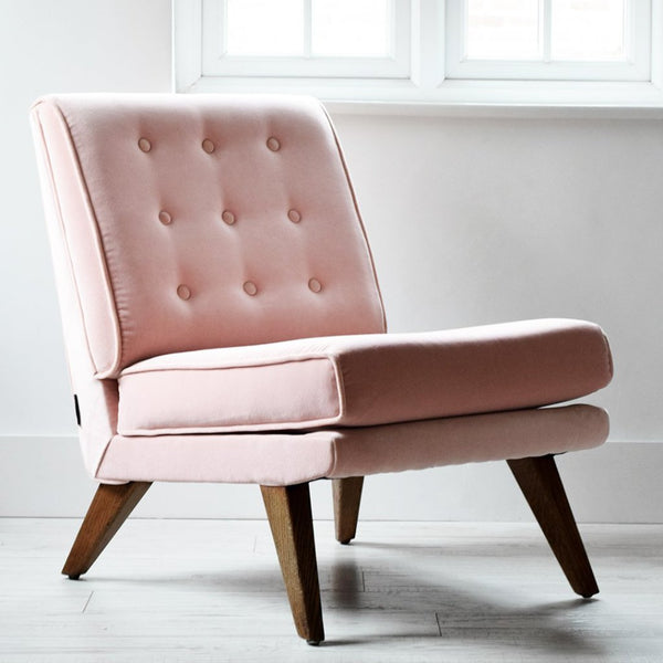 Vintage G Plan E Gomme B 403 Chair in blush pink velvet