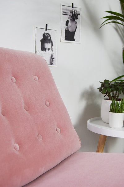 Pink Velvet Vintage Restored G Plan Brandon TV Chair Florrie + Bill