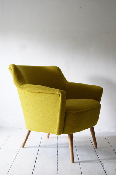 Yellow Wool Vintage Armchair - Florrie + Bill