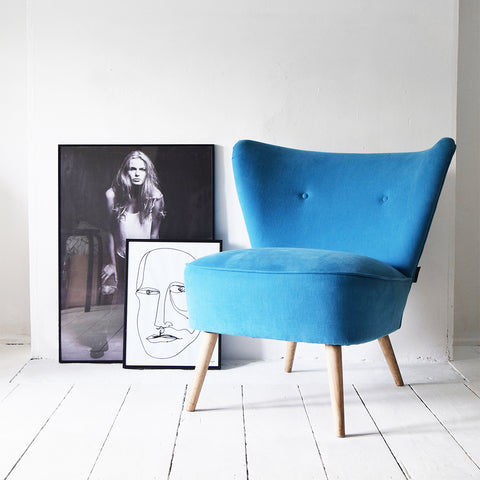 Vintage Blue Cocktail Chair restored by Florrie and Bill in Kirkby Design Cadet Sahara Blue Fabric
