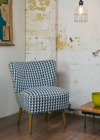 Vintage Cocktail Chair in Aldgate East Ink Fabric