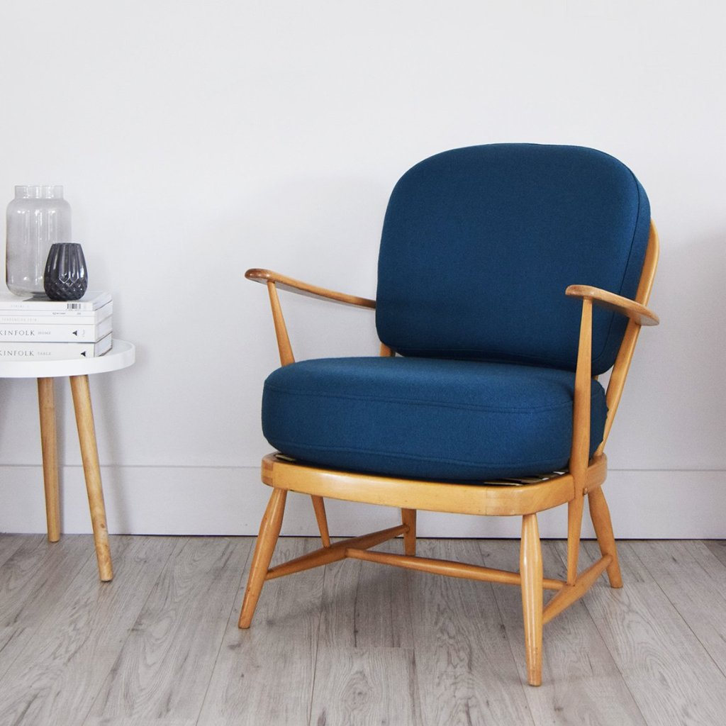 Vintage Ercol 334 Blonde Wood Easy Chair in teal blue wool