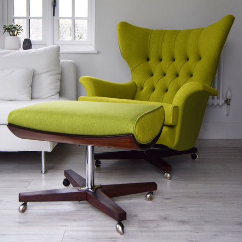 Vintage G Plan 6250 Chair and Ottoman in Yellow and Green Wool
