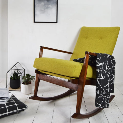 Yellow Wool Parker Knoll Rocking Chair