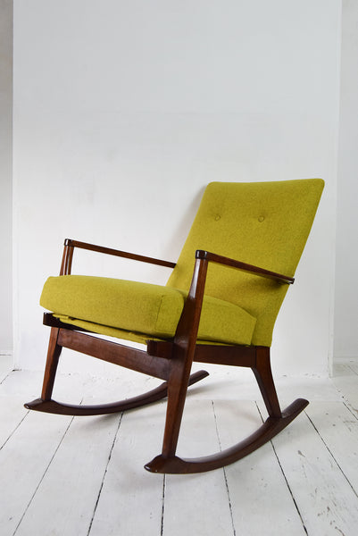 Retro Vintage Parker Knoll Rocking Chair In Yellow Wool From Florrie Bill Florrie Bill