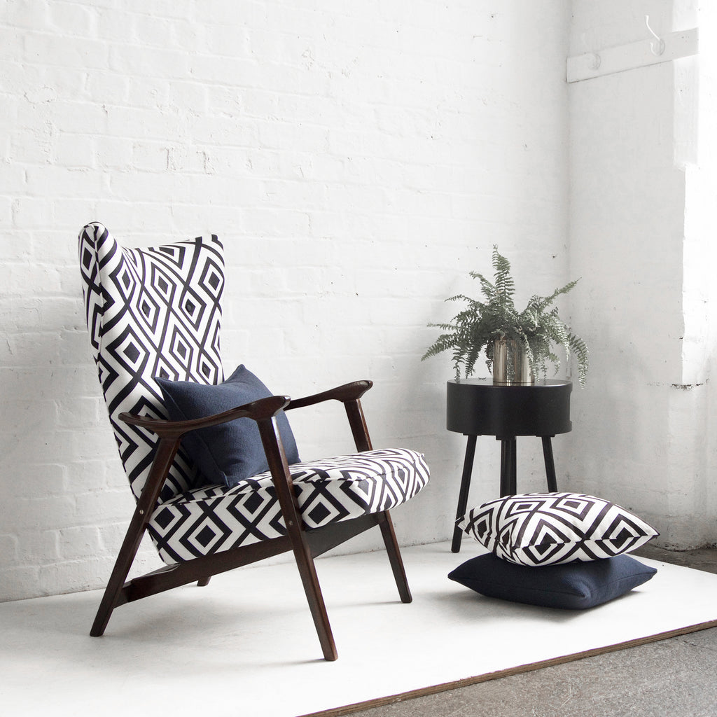 Retro Scandi Wing Chair In Black And White Geometric Fabric