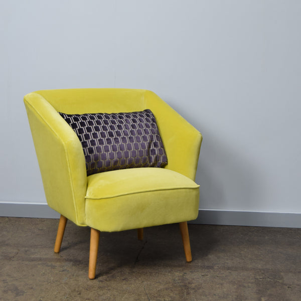 Yellow Velvet Vintage Armchair