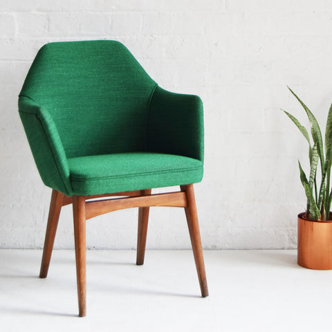Retro Benchair in Green Wool
