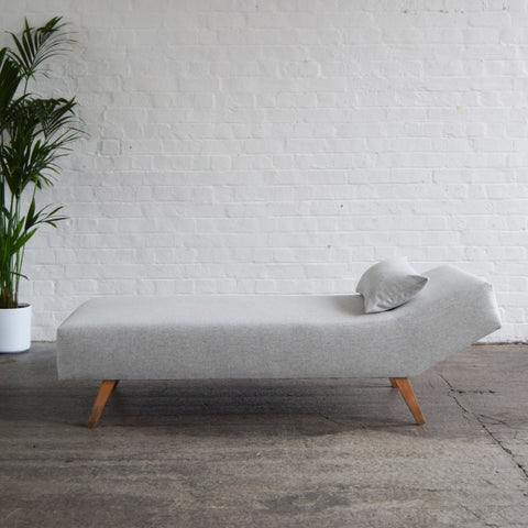 Retro Grey Wool Chaise