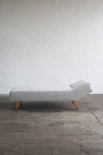 Retro Vintage Grey Wool Chaise Daybed