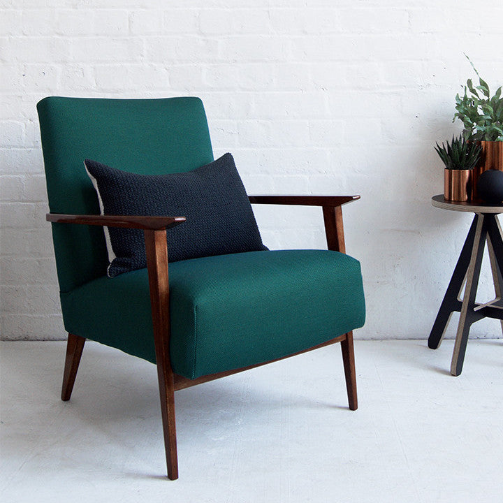 Vintage Danish Armchair in Green Febrik Textiles