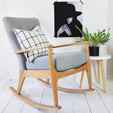 Florrie and Bill Retro Parker Knoll Rocking Chair in ROMO Linara Eucalytpus Grey Fabric