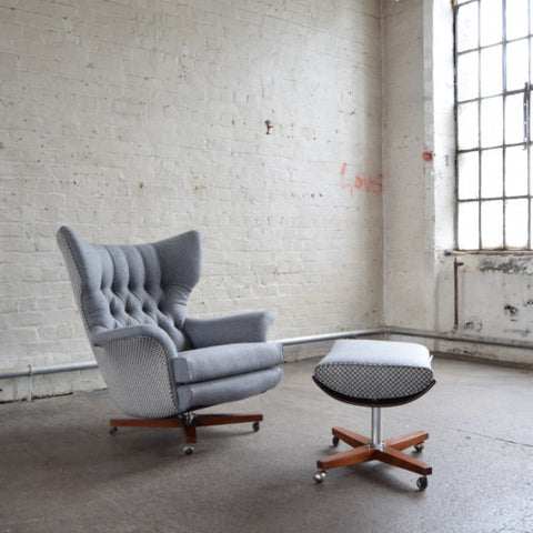 Grey Wool G Plan 6250 Swivel Chair
