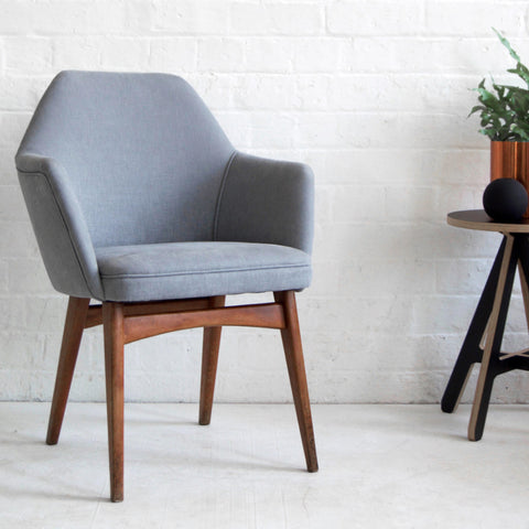 Retro Benchair in Grey Cotton