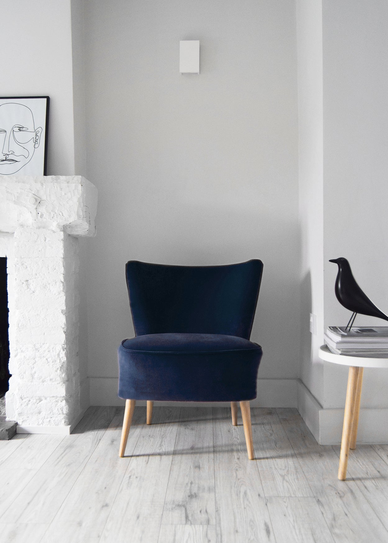 Dark Denim Blue Velvet Cocktail Chair - Florrie + Bill