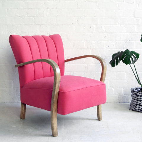 Vintage Pink Deco Armchair from Florrie and Bill