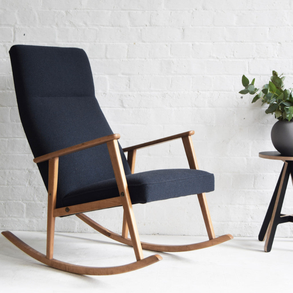 Vintage Scandi Rocking Chair in Charcoal Wool Florrie + Bill ...