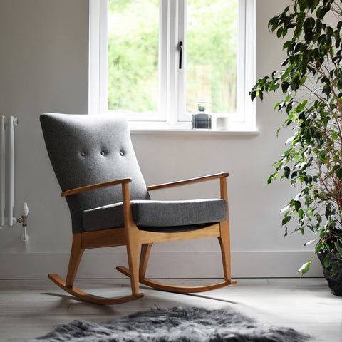 Charcoal Grey Wool Parker Knoll Rocking Chair