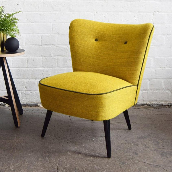 Yellow Vintage Cocktail Chair in Svensson Yellow Wool