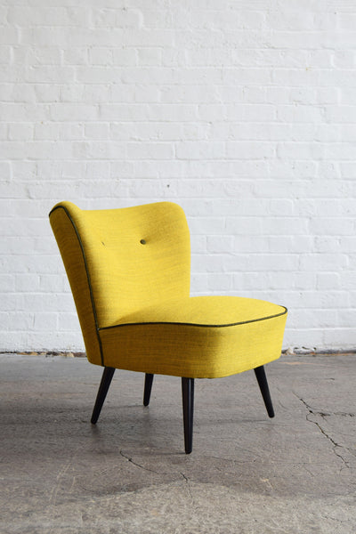Vintage Cocktail Chair in Svensson Yellow Wool
