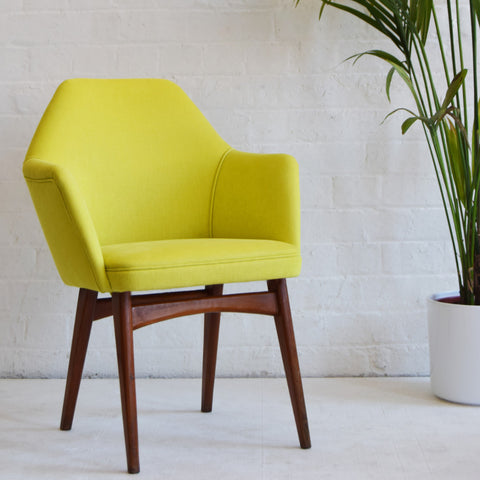 Retro Benchair in Yellow Cotton