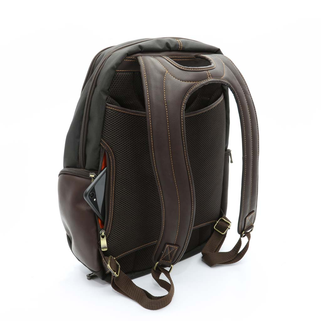 Nylon and Leather Backpack Shoe Bag