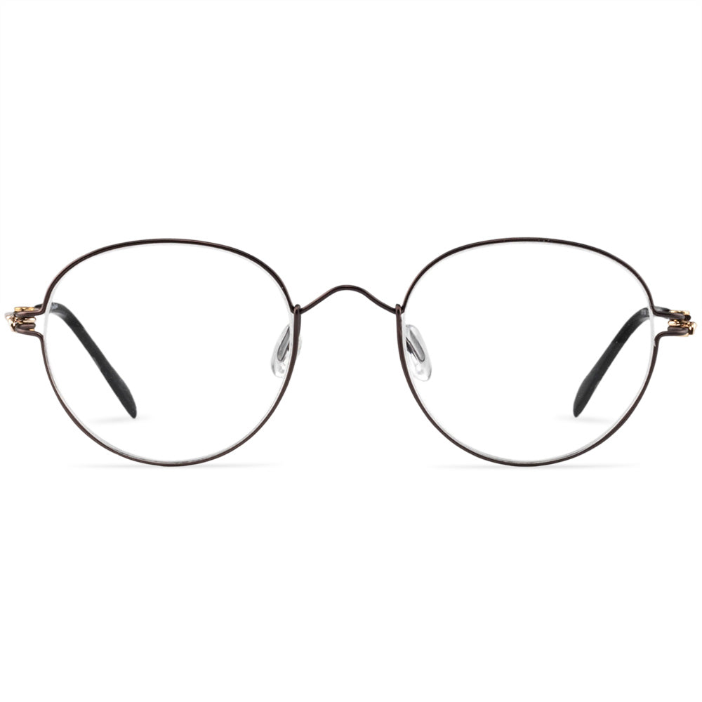 Potts Full Rim Metallic Round Frame With Prescription Lenses