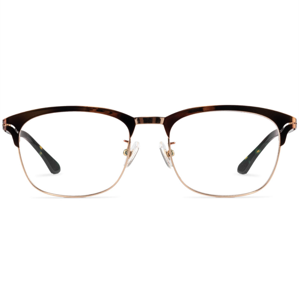 Dakota Full Rim Metallic Square Browline Tortoise Frame With Prescription Lenses | Charm Optical