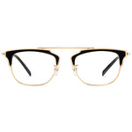 Clara Full Rim Metallic Square Browline Frame With Prescription Lenses